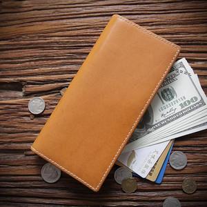 Portefeuille en cuir véritable 100% pour hommes Homme Véritable Cowhide Vintage à la main Pochette à la main Pochette Homme Porte-monnaie Homme avec titulaire de la carte