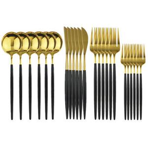 24Pcs Set Black Gold Dinnerware Cutlery Dessert Fork Flatware Set 18 10 Stainless Stee Kitchen Tableware Silverware