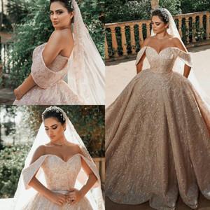 Off Shoulder Royal Wedding Dresses Plus Size Sequined Dubai Luxury vestidos de novia 2021 Customize Bridal Gowns