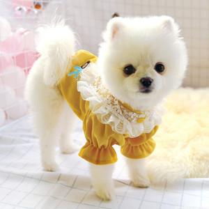 Pet Schnauzer Beaumey Urso de Poodle Dog Autumn Lace Princesa Corduroy camisola Teddy vestido XYUP