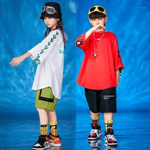 Girls Boys Performance Hip Hop Dance Costumes Outfits Детские бальные джазовые танцевальные носить одежду Свободные футболки Tops Jogger штаны1