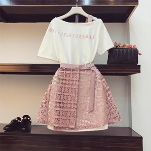 2020 Summer Women Fashion 2 Piece Suit Slash Collar Off Shoulder Long T Shirt amp; Hollow Out Lace Skirt Suits Skirts Set