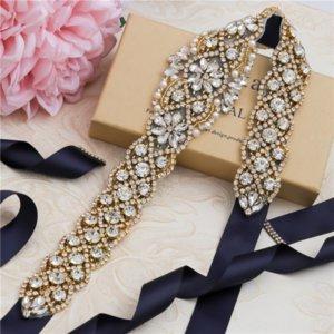 TUYhr Hot sale alloy rhinestone bridal Wedding ribbon Dress ribbon wedding dress waist seal jewelry Multicolor silk belt rhinestone belt 829