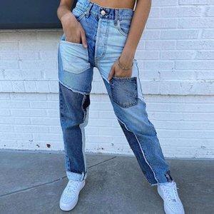2020 High Waist Frauen-Jeans-Baumwolle Patchwork-gerade Frauen-Jeans-Baggy Vintage-High Waist Denim Distressed Street
