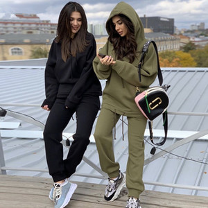 Two Piece Set Outfits Women's Tracksuit Oversized Hoodie And Pants Casual Sport Suit Winter 2 Piece Woman Set S-XL