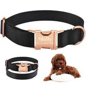 Airuidog personalizado gola de cachorro tag preto tecido grátis id gravado nome pequeno grande pet y200917