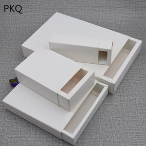 10Pcs Lot White Kraft Paper Box Cardboard Drawer Gift Box DIY Blank Present Jewelry Boxes Birthday Party Packaging 22 Sizes