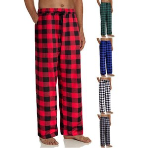 Men Plaid Sleep Pants Male Pajamas Pants Bottoms Home Sleepwear for Elastic Waist Pijama Nightwear
