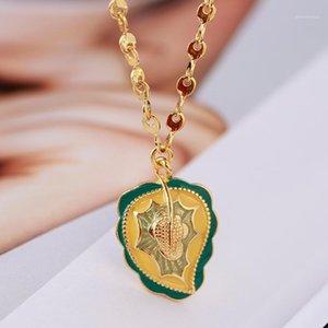 Diseño no principal Nuevo esmalte de esmalte de esmalte de hojas de palma de hojas de palma con estilo simple collar de clavícula cadena1