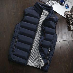 Бренд мужская куртка без рукавов зимняя мода повседневная пальто мужской хлопок мягкий мужской жилет мужчин утолщение жилет 4xL