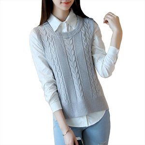 2020 Spring Autumn New Women Sweater vest Casual Pure color Sleeveless jacket Loose High quality Women Knit Sweater Waistcoat