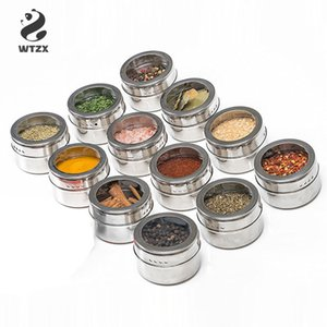Clear Lid Magnetic Spice Tin Jar Stainless Steel Spice Sauce Storage Container Jars Kitchen Condiment Holder Houseware