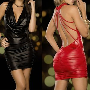 Women Dress Sexy Black And Red Wet Look Backless Bandage Faux Leather Bodycon Dress Drop Shipping