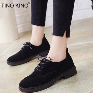 Tino Kino Женщины Осень ретро Низкий каблук обувь оружия замшевые женские туфли удобные элегантные дамы мода классическая обувь # yn22