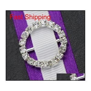 20mm Runde Rhinestone Kristallschnallen 14mm Bar Einladung Ribbon Stuhlabdeckungen Slider Schärpen Bögen Schnallen Hochzeit liefert GJ1IP