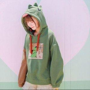 sweatshirt dinosaur fleece hoodie fashion with a hood cute hoodies korean women kawaii japanese hoodie girls winter polluvers