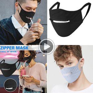 Venta Ot cremallera máscara máscaras creativo cremallera máscara protectora Ering Julie para beber Wasale Den Fa Fa Fácil Epnrs