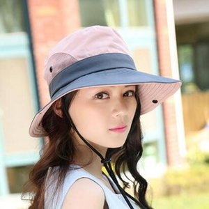 di XdanqinX estate delle donne traspirante Cappello per il sole pieghevole Coppia Bucket Hats vento corda fissa di misura adattabile Beach Caps Pesca Hat