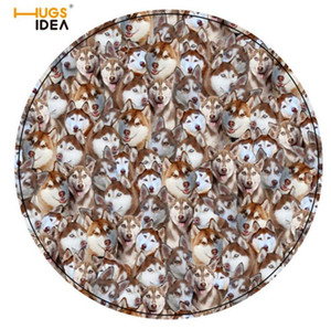 HUGSIDEA Round Carpet Husky Printed Soft Carpets Anti-slip Rugs Pug Dog Chair Mat Floor Mat for Home Kids Room 60*60CM