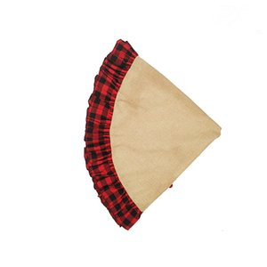 Check Buffalo Santa Wholesale Hot Sale Home Decoration Plaid Edge Linen Round Christmas Tree Skirt QZTG
