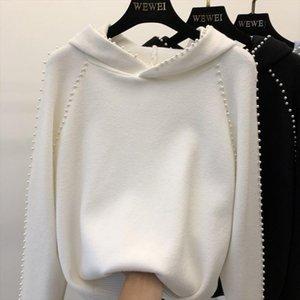 Il nuovo modo di autunno e di inverno delle donne maglione con cappuccio di colore puro Top Femminili Primavera manica lunga Maglieria studenti maglia
