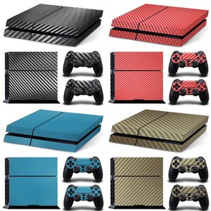 for PS4 black white carbon fiber skin sticker wrap playstation 4 console controllers dustproof vinyl cover decal case skin W1219