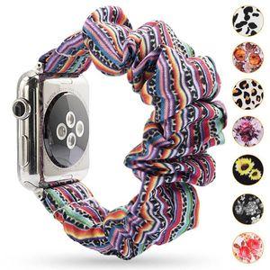 꽃 무늬 scrunchie 시계 밴드 표범 / 솔리드 컬러 / 스트라이프 scrunchie 천 패션 손목 밴드 iWatch 97 색 DZ22에 대 한 38m 42mm