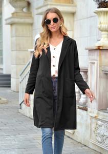 Pulsante donne singolo cappotto di lana a maniche lunghe risvolto collo Autunno Inverno cappotto lungo signore Pocket Blends
