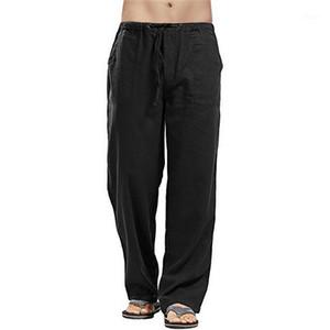 2020 Estate Biancheria in cotone uomo Pantaloni lunghi Pantaloni yoga Pantaloni maschili Solid Elastico Elastico Vita Straight Style Pantaloni Simple Lounge Wear1