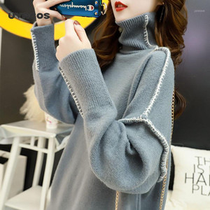 Winter-Pullover-Frauen-High-Nacken-lose lose koreanische Art faul faul Windgestrickte Botting-Hemd1
