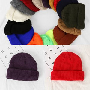 Hat Winter Knitted Plain Custom Short Fisherman Beanie IXUW