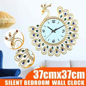 Large 3D Gold Diamond Peacock Wall Clock Metal Watch for Home Living Room Decoration DIY Clocks Crafts Ornaments Gift 37x37cm1