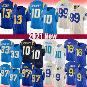 10 Justin Herbert 99 Aaron Donald 9 Matthew Stafford Football Jersey 97 Joey Bosa 13 Keenan Allen 33 Derwin Jame 16 Jared Goff Jerseys 2021