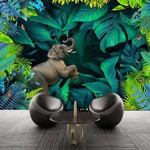 Custom Wall Mural Papel De Parede Tropical Rainforest 3D Landscape Waterproof Canvas Painting Wallpaper For Living Room Bedroom
