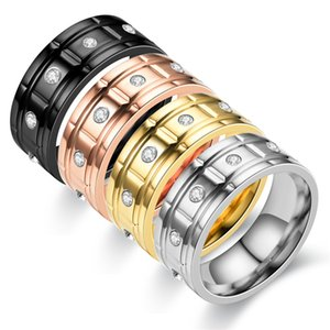 Titanium Stainless Steel Rings For Women Jewelry Love Gold Silver Rose Gold Black Wedding Band Rings Luxury Diamond Engagement Rings