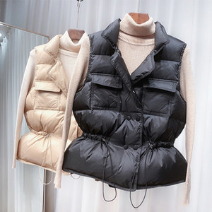 Wenyujh 2021 New Light Women Short Windproof Lightweight Warm Waistcoat White Duck Down Coat Sleeveless Vest