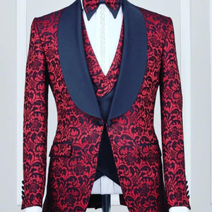 Red Sequins 3 Pieces Men Suit (Jacket+Pant+Vest) Blazer Groom Tuxedos One Button Shawl Lapel Morning Business Evening Party Groom Wear
