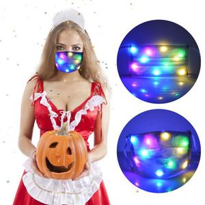 Filtre Toz Geçirmez Renkli Fiber Işıklar Parlak Rave Müzik Parti ile Noel Yanıp sönen LED Maske Cosplay Yüz Maskeleri Maske
