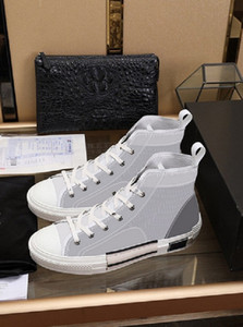 NEW 19SS Womens Mens Casual Canvas Sneakers Shoes Technical Leather Flowers Printed High Top Sneakers Dress Walking 23 Shoes des chaussures