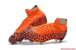 Orange Leopard Print Soccer Cleats Mercurial Superfly KJ VI 360 Elite CR7 FG 100% Original Kids Soccer Shoes C Ronaldo Football Boots