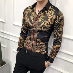 Мужские платья рубашки роскошные черные золотые рубашки мужчина 2021 тонкий с длинным рукавом юбка модный социальный клуб формальное вечернее платье1