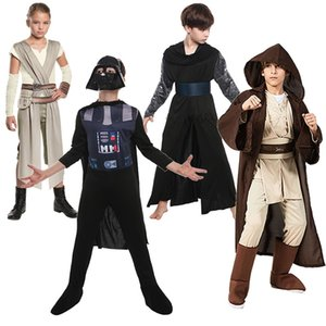 Boys Star Role War Vader Playing Costumes Children Anakin Hooded Cloak Suits Girls Grey Cosplay Set Storm Trooper Knight Clothes Y200831
