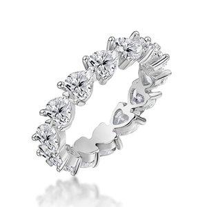 QYI Подлинная 925 Серебряное кольцо Сердце Очень перстни Блестящая SONA камень для женщин годовщина свадьбы Ювелирные 201112