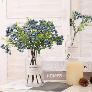 5pcs / lot Artificial plástico Blueberry Fruit Ramos Home Decor, Falso Berry grama Xmas Natal Decor Plantas Artificiais
