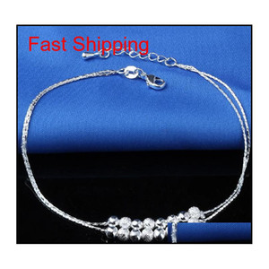 New 925 Sterling Sliver Ankle Bracelet For Women Foot Jewelry Inlaid Zircon Anklets Bracelet On A Leg qylriw nana_shop