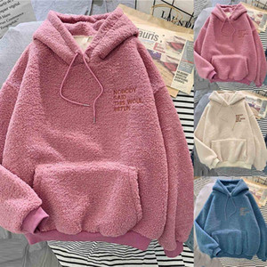 Women Teddy Oodie Oversized Hooded Hoodie O-Neck 3 Solid Long sleeve Long Letter Pocket Coat Sweatshirt Top For Teens Girls1