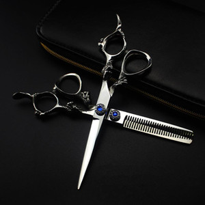 professional japan 440c 6 '' blue gem dragon cut hair scissors hair cutting barber haircut thinning shears hairdressing scissors