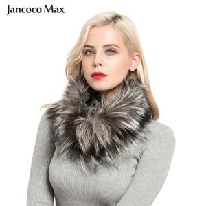 Jancoco Max New Real Fox Four Poder Bufandas Invierno Grueso Cálido Top Calidad Mantón Muffler LJ201117