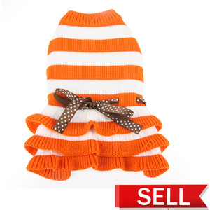 Pet Dog Clothes Autumn And Winter Stripe Dress Knitting Bow Skirt Thickening Keep Warm Puppy Clothing 16dg UU