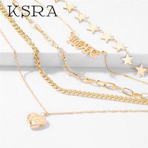 KSRA 2020 nuevo de la manera multi-capa colgante, collar de amor para la joyería encanto de la estrella de la aleación collar de la mujer simple color oro regalo
